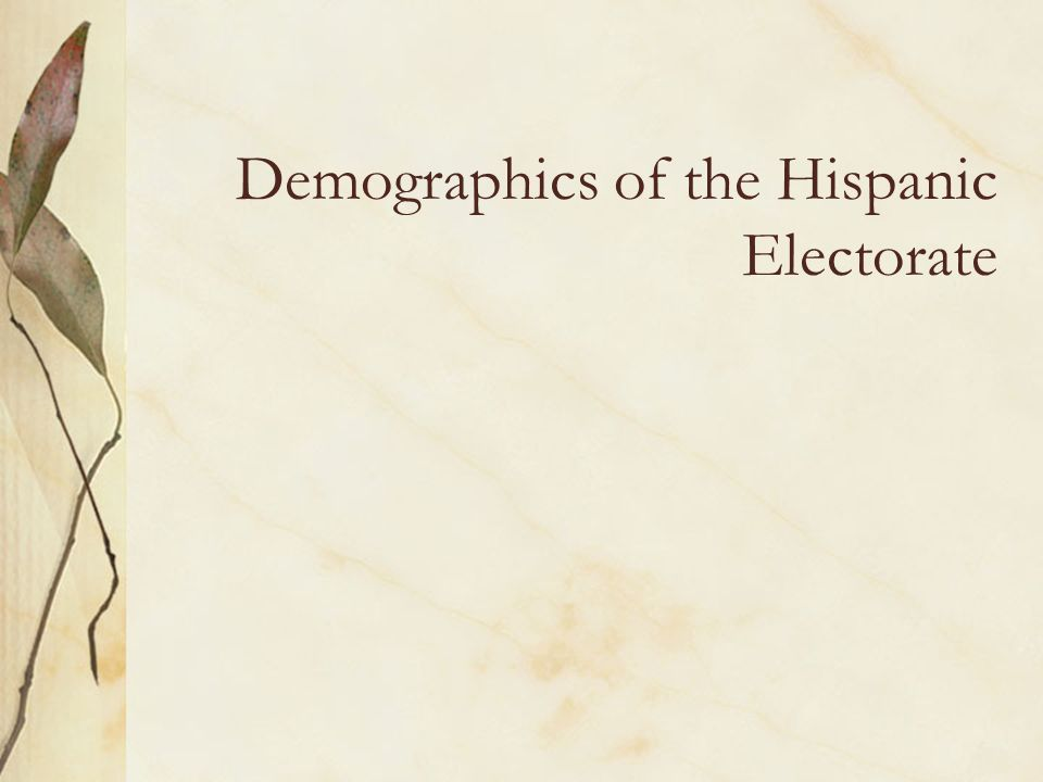 Demographics of the Hispanic Electorate