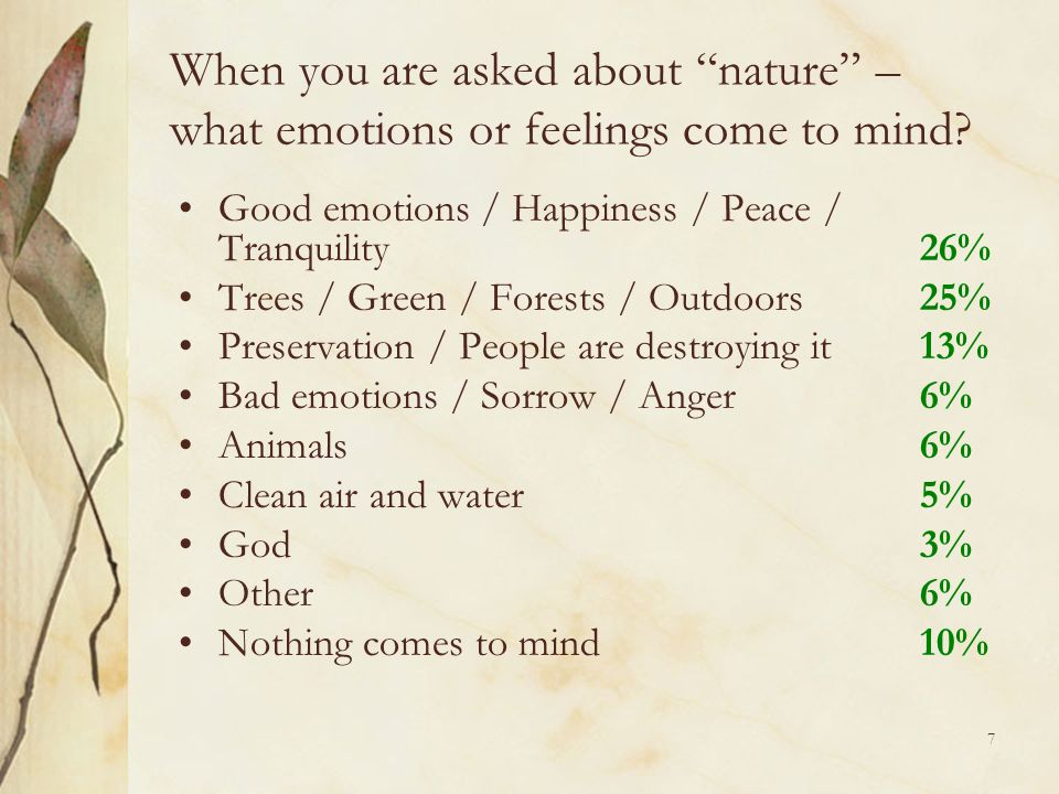 7 When you are asked about nature – what emotions or feelings come to mind.