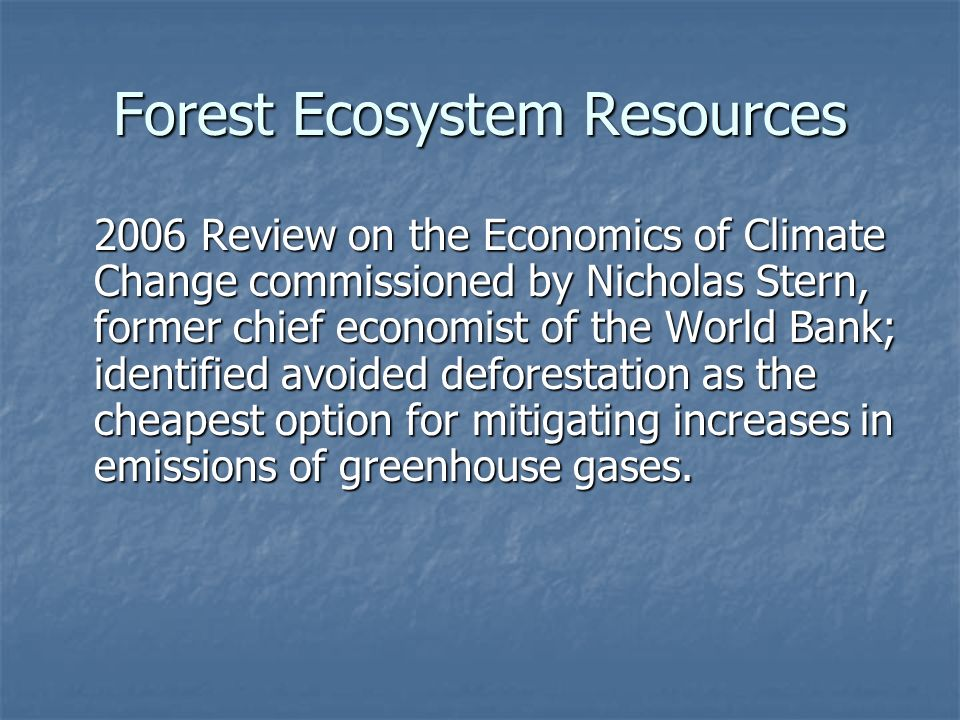 Forest Ecosystem Resources 2006 Review on the Economics of Climate Change commissioned by Nicholas Stern, former chief economist of the World Bank; identified avoided deforestation as the cheapest option for mitigating increases in emissions of greenhouse gases.
