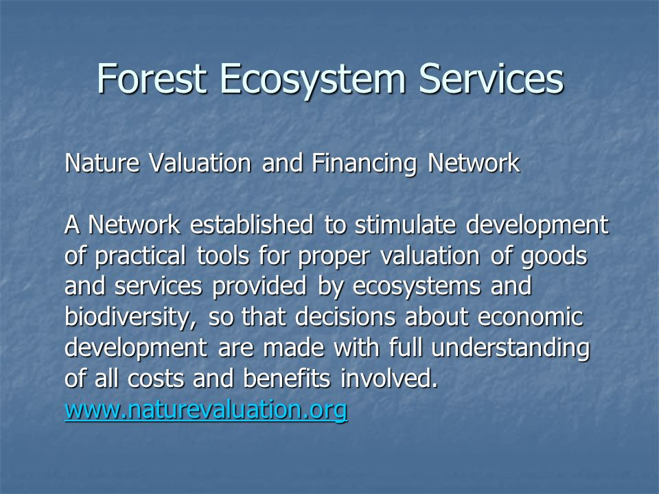 Forest Ecosystem Services Nature Valuation and Financing Network A Network established to stimulate development of practical tools for proper valuation of goods and services provided by ecosystems and biodiversity, so that decisions about economic development are made with full understanding of all costs and benefits involved.
