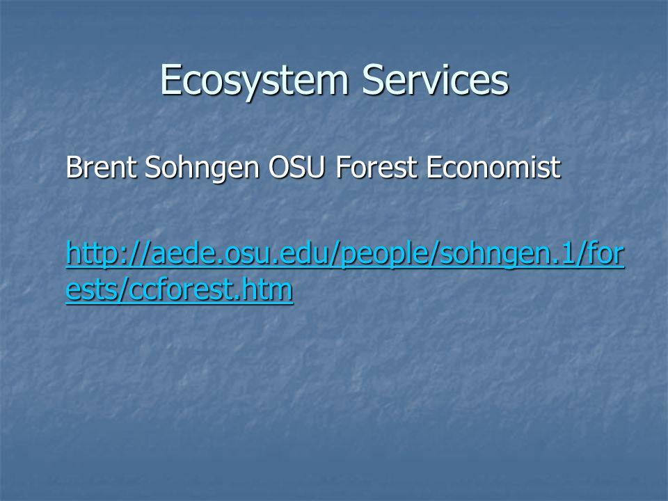 Ecosystem Services Brent Sohngen OSU Forest Economist Brent Sohngen OSU Forest Economist http://aede.osu.edu/people/sohngen.1/for ests/ccforest.htm http://aede.osu.edu/people/sohngen.1/for ests/ccforest.htm