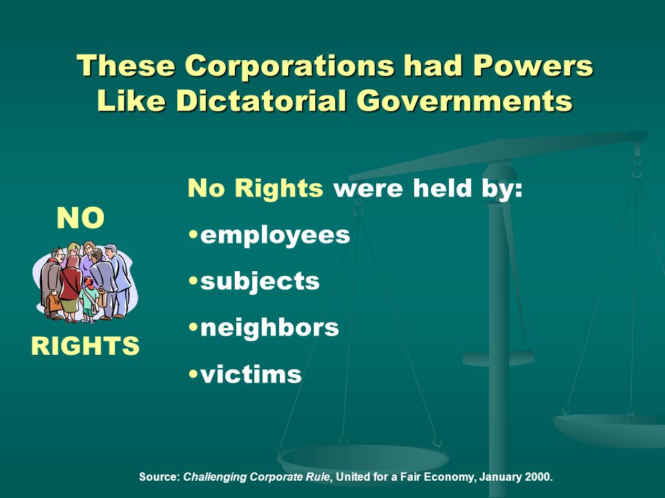 Corporate Directors could: wage war seize the commons force human labor judge and punish redefine the rights of the corporation Source: Challenging Co