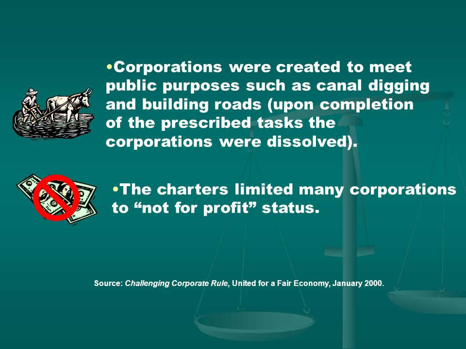 Source: Challenging Corporate Rule, United for a Fair Economy, January 2000. Shareholders were personally liable for the debts of the corporations and