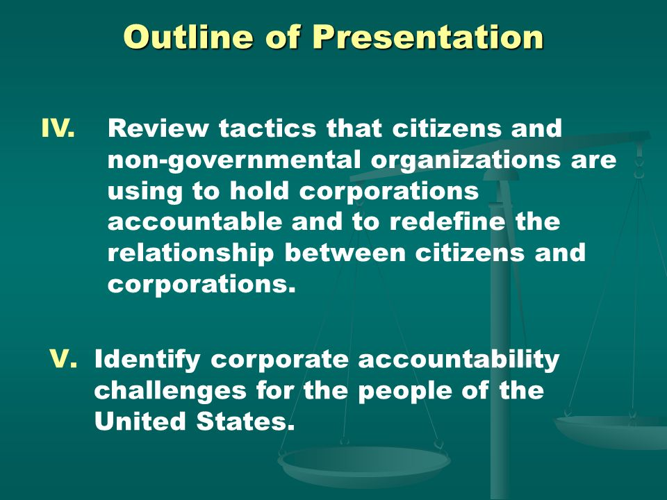 Outline of Presentation I. Examine the nature of the corporation - legally, economically, and politically. II.Explore the history of how corporations