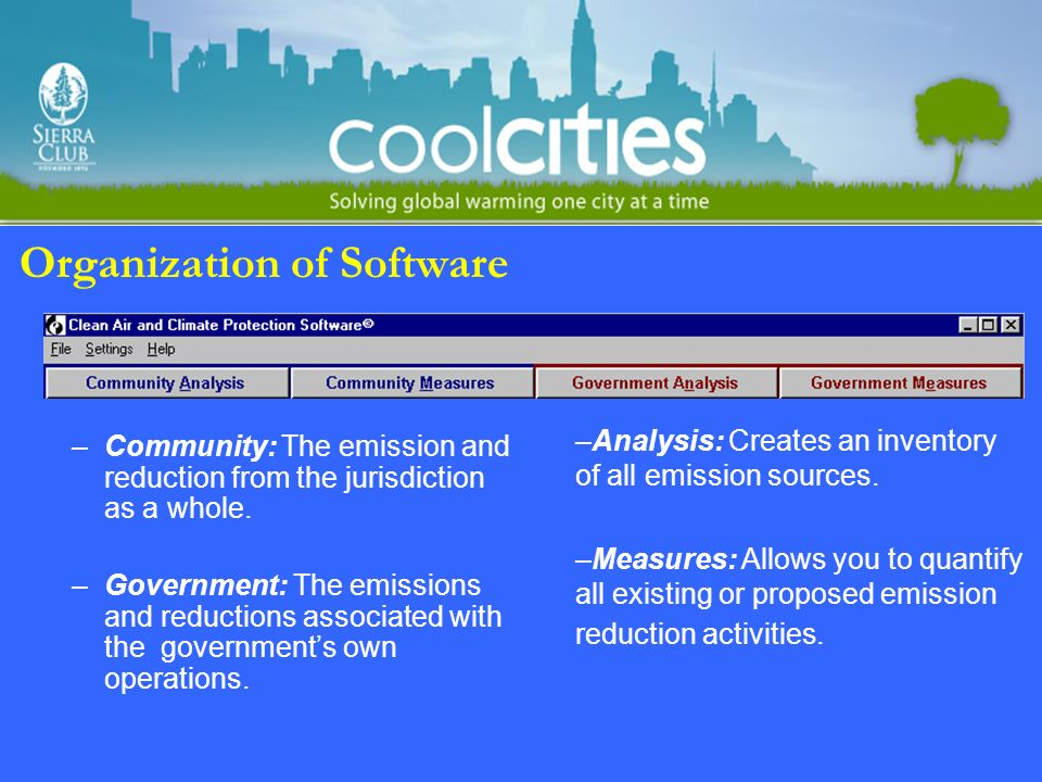 Organization of Software –Community: The emission and reduction from the jurisdiction as a whole.