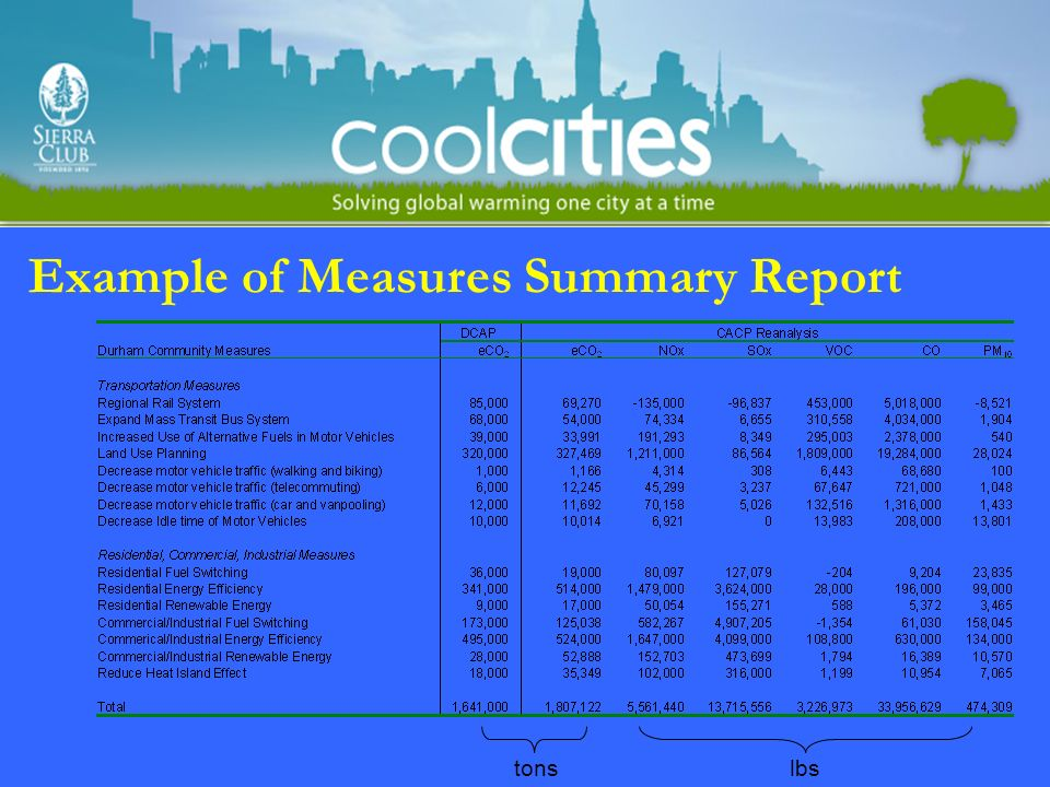 Example of Measures Summary Report tonslbs