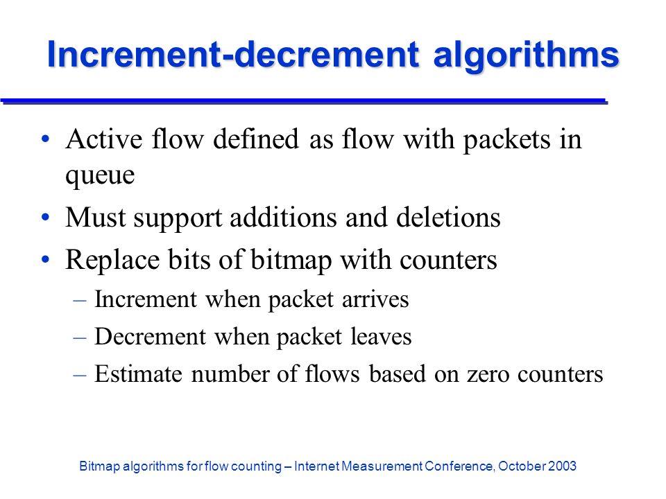 Bitmap algorithms for flow counting – Internet Measurement Conference, October 2003 Increment-decrement algorithms Active flow defined as flow with pa