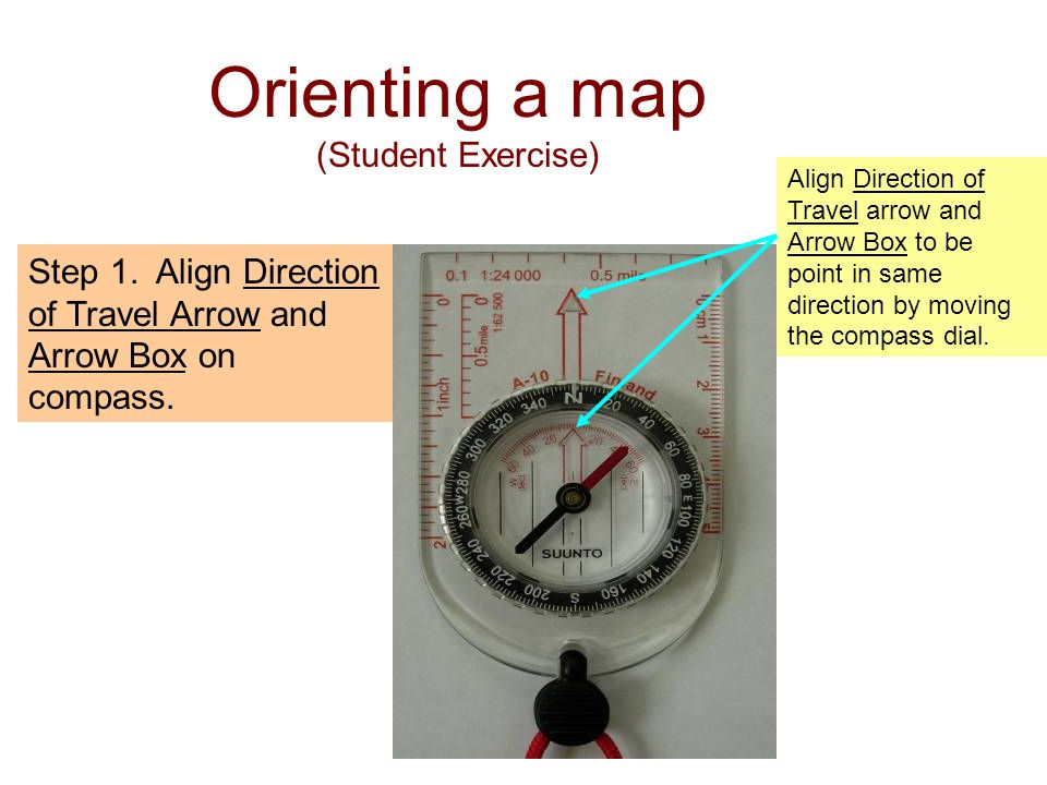 Step 1. Align Direction of Travel Arrow and Arrow Box on compass. Align Direction of Travel arrow and Arrow Box to be point in same direction by movin