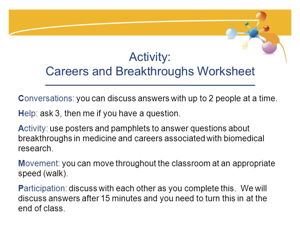 Activity: Careers and Breakthroughs Worksheet Conversations: you can discuss answers with up to 2 people at a time.