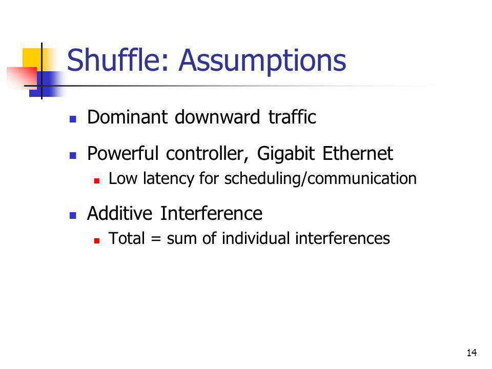 14 Shuffle: Assumptions Dominant downward traffic Powerful controller, Gigabit Ethernet Low latency for scheduling/communication Additive Interference