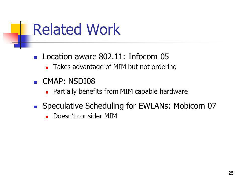 25 Related Work Location aware 802.11: Infocom 05 Takes advantage of MIM but not ordering CMAP: NSDI08 Partially benefits from MIM capable hardware Sp