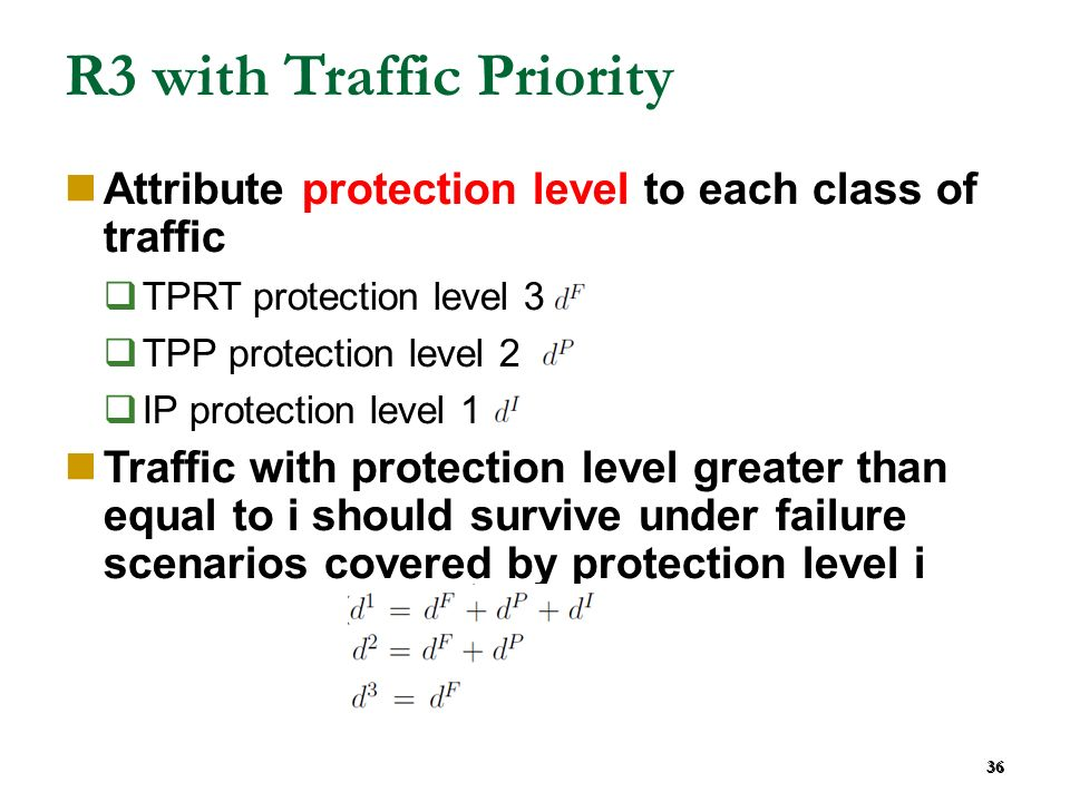36 R3 with Traffic Priority Attribute protection level to each class of traffic TPRT protection level 3 TPP protection level 2 IP protection level 1 T