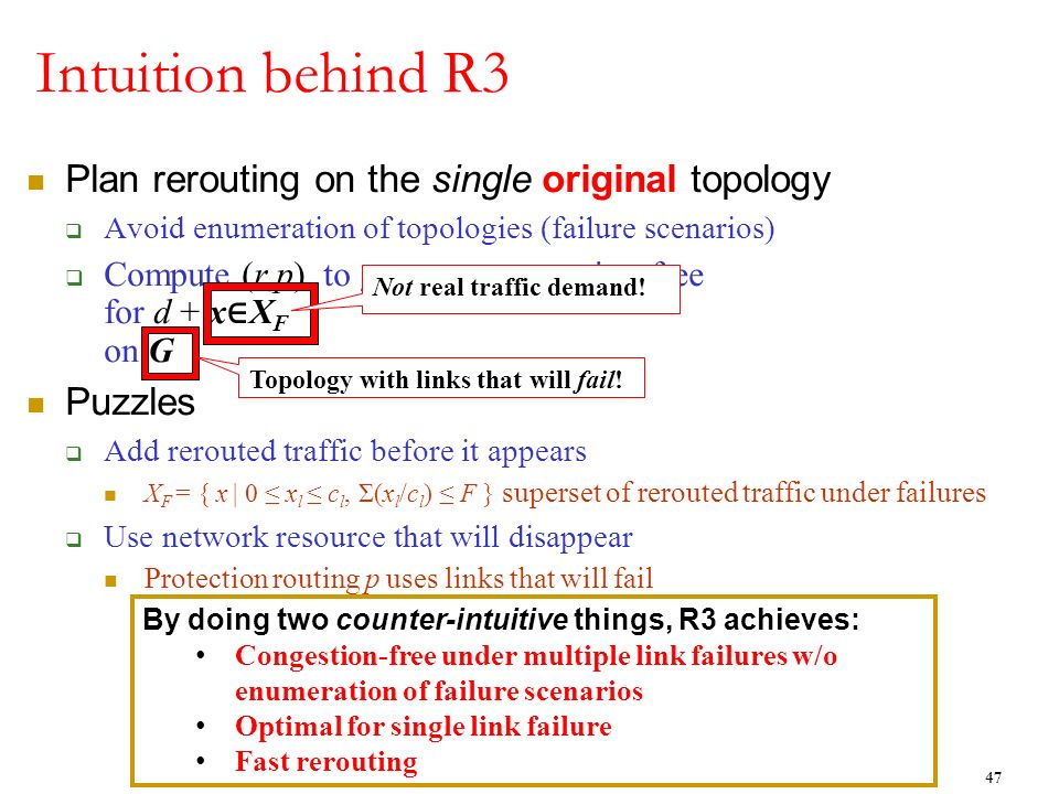 Intuition behind R3 Plan rerouting on the single original topology Avoid enumeration of topologies (failure scenarios) Compute (r,p) to gurantee conge
