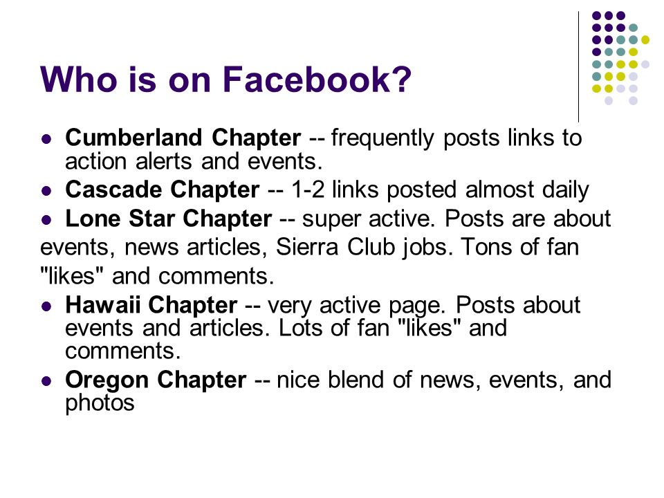Who is on Facebook. Cumberland Chapter -- frequently posts links to action alerts and events.