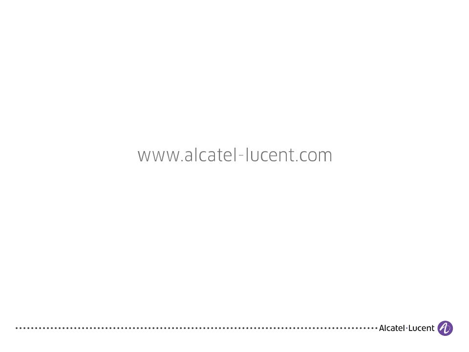 COPYRIGHT © 2011 ALCATEL-LUCENT. ALL RIGHTS RESERVED. 16