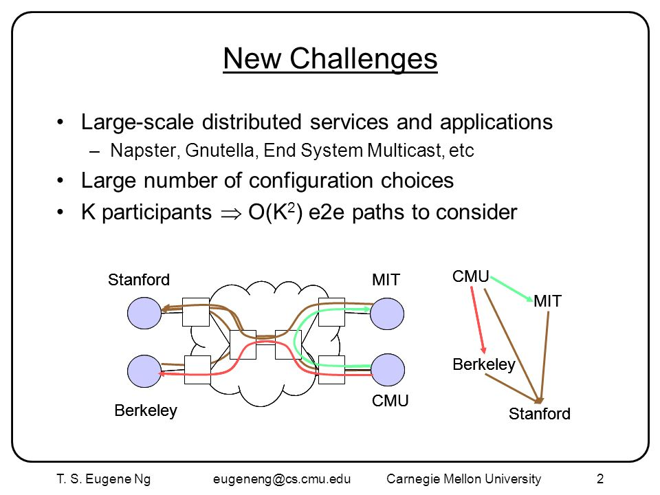 T. S. Eugene Ng eugeneng@cs.cmu.eduCarnegie Mellon University2 New Challenges Large-scale distributed services and applications –Napster, Gnutella, En