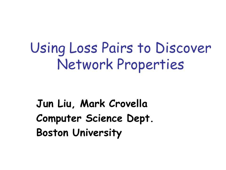Using Loss Pairs to Discover Network Properties Jun Liu, Mark Crovella Computer Science Dept.
