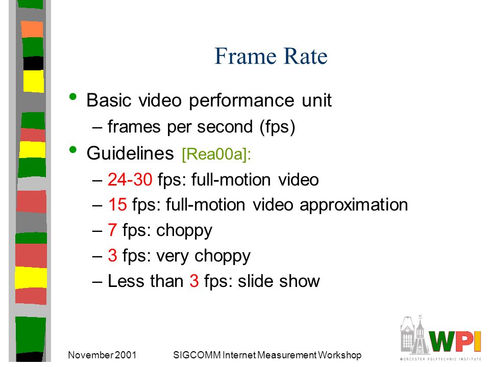 November 2001SIGCOMM Internet Measurement Workshop Frame Rate Basic video performance unit –frames per second (fps) Guidelines [Rea00a]: –24-30 fps: full-motion video –15 fps: full-motion video approximation –7 fps: choppy –3 fps: very choppy –Less than 3 fps: slide show