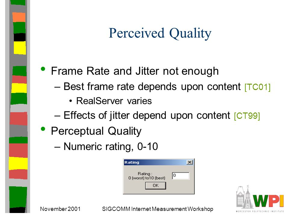 November 2001SIGCOMM Internet Measurement Workshop Perceived Quality Frame Rate and Jitter not enough –Best frame rate depends upon content [TC01] RealServer varies –Effects of jitter depend upon content [CT99] Perceptual Quality –Numeric rating, 0-10