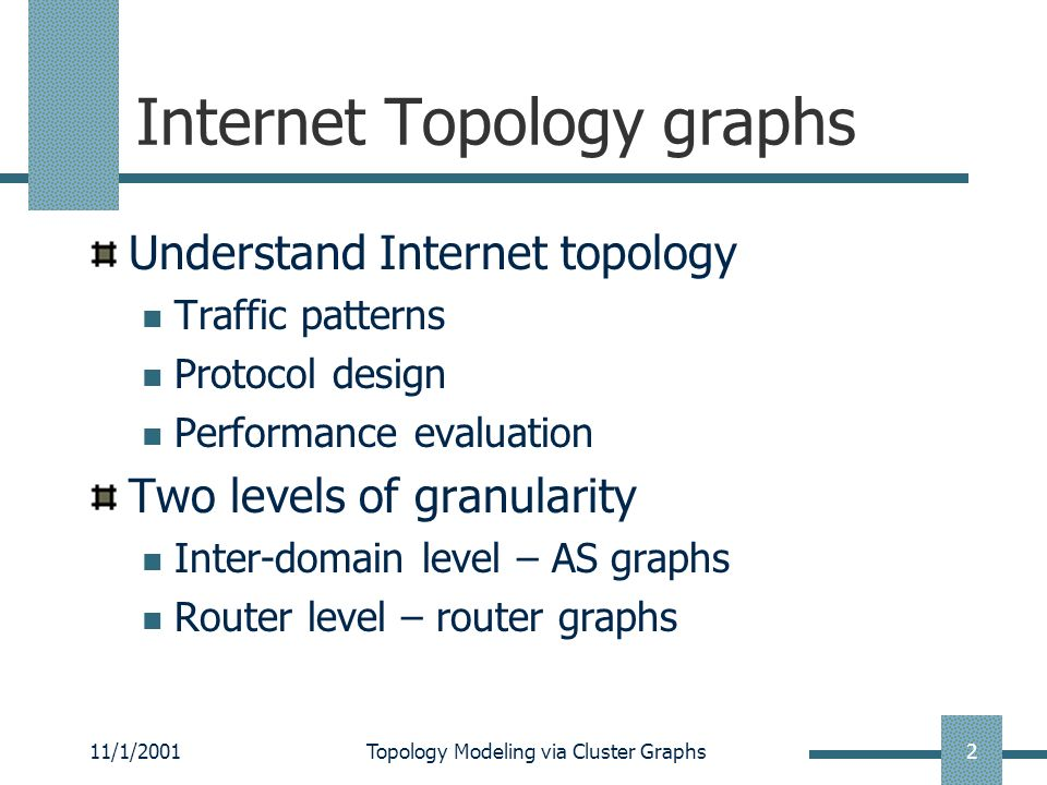 11/1/2001Topology Modeling via Cluster Graphs2 Internet Topology graphs Understand Internet topology Traffic patterns Protocol design Performance evaluation Two levels of granularity Inter-domain level – AS graphs Router level – router graphs