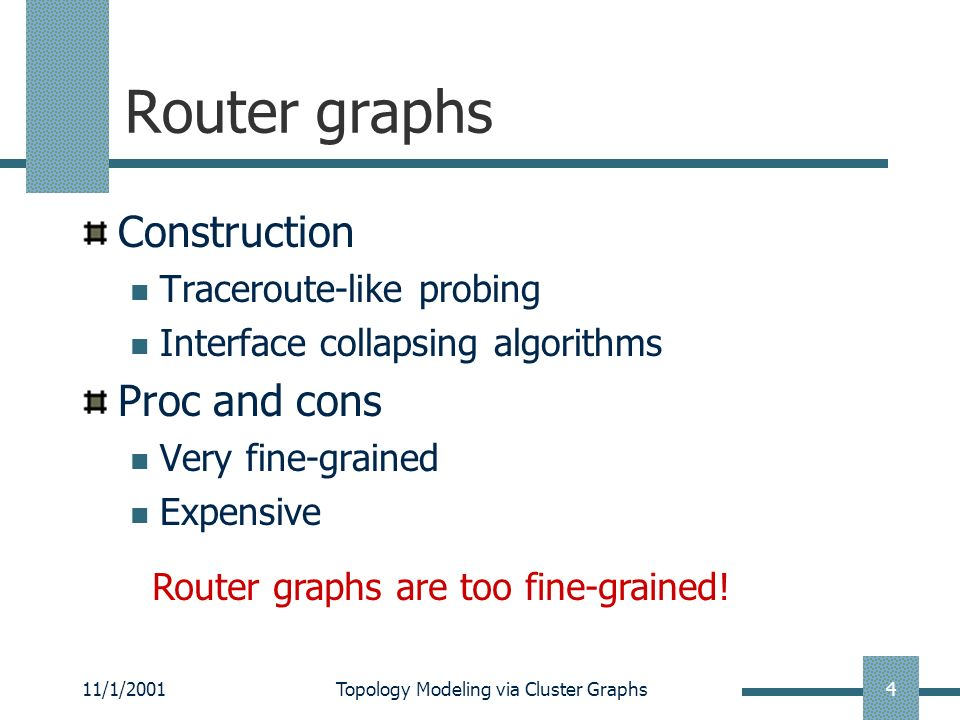 11/1/2001Topology Modeling via Cluster Graphs15 Conclusion Examine Internet topology models Cluster graph Compare three models Cluster graphs are less complicated and more stable than router graphs.