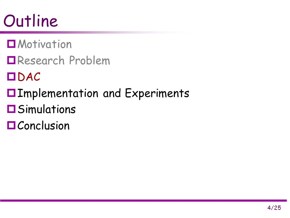 4/25 Outline Motivation Research Problem DAC Implementation and Experiments Simulations Conclusion