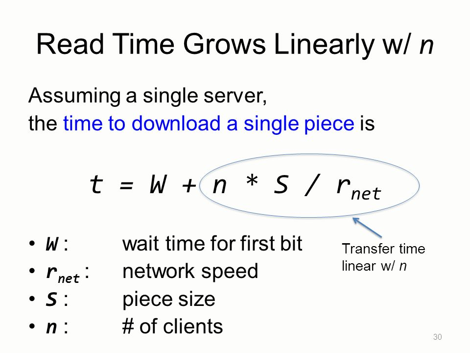 Read Time Grows Linearly w/ n Assuming a single server, the time to download a single piece is t = W + n * S / r net W : wait time for first bit r net : network speed S : piece size n :# of clients 30 Transfer time linear w/ n