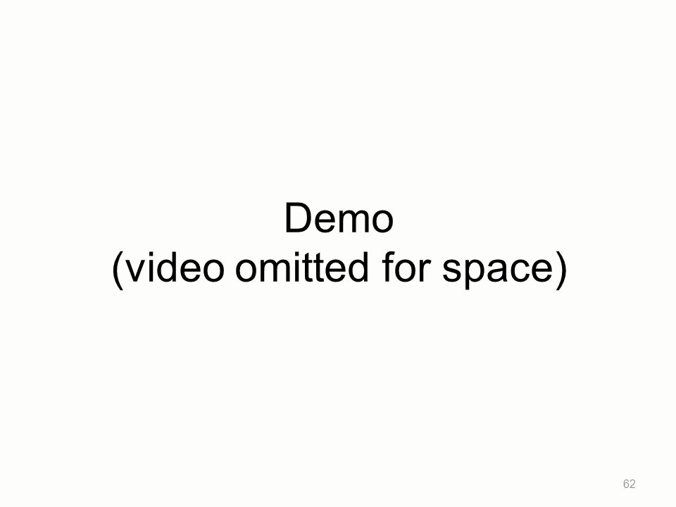 Demo (video omitted for space) 62