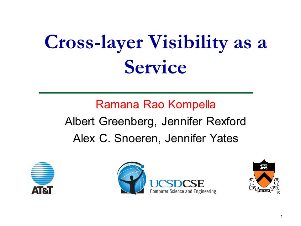1 Cross-layer Visibility as a Service Ramana Rao Kompella Albert Greenberg, Jennifer Rexford Alex C.