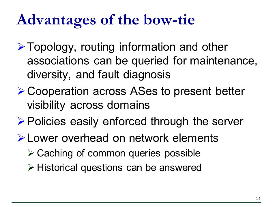 14 Advantages of the bow-tie Topology, routing information and other associations can be queried for maintenance, diversity, and fault diagnosis Cooperation across ASes to present better visibility across domains Policies easily enforced through the server Lower overhead on network elements Caching of common queries possible Historical questions can be answered