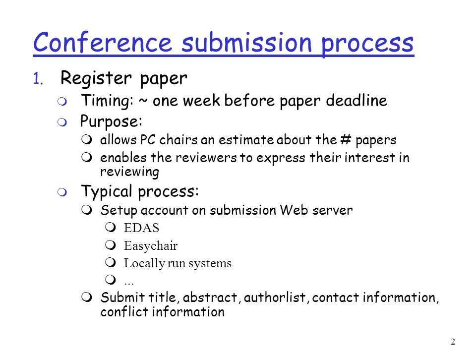 2 Conference submission process 1.