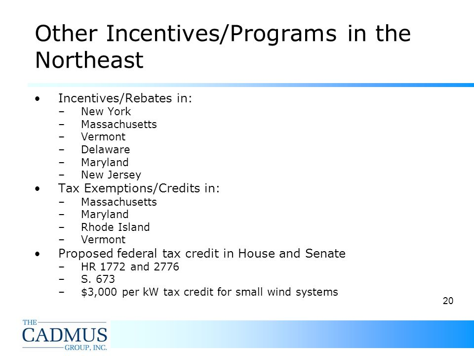 20 Other Incentives/Programs in the Northeast Incentives/Rebates in: –New York –Massachusetts –Vermont –Delaware –Maryland –New Jersey Tax Exemptions/Credits in: –Massachusetts –Maryland –Rhode Island –Vermont Proposed federal tax credit in House and Senate –HR 1772 and 2776 –S.