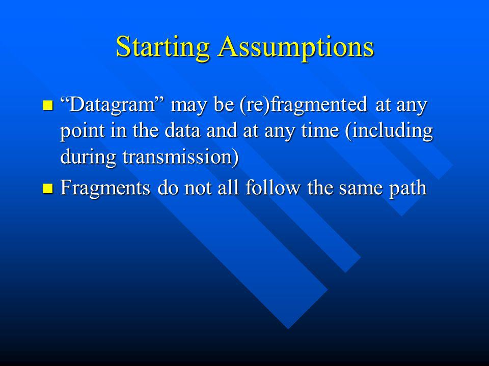 Starting Assumptions Datagram may be (re)fragmented at any point in the data and at any time (including during transmission) Datagram may be (re)fragm