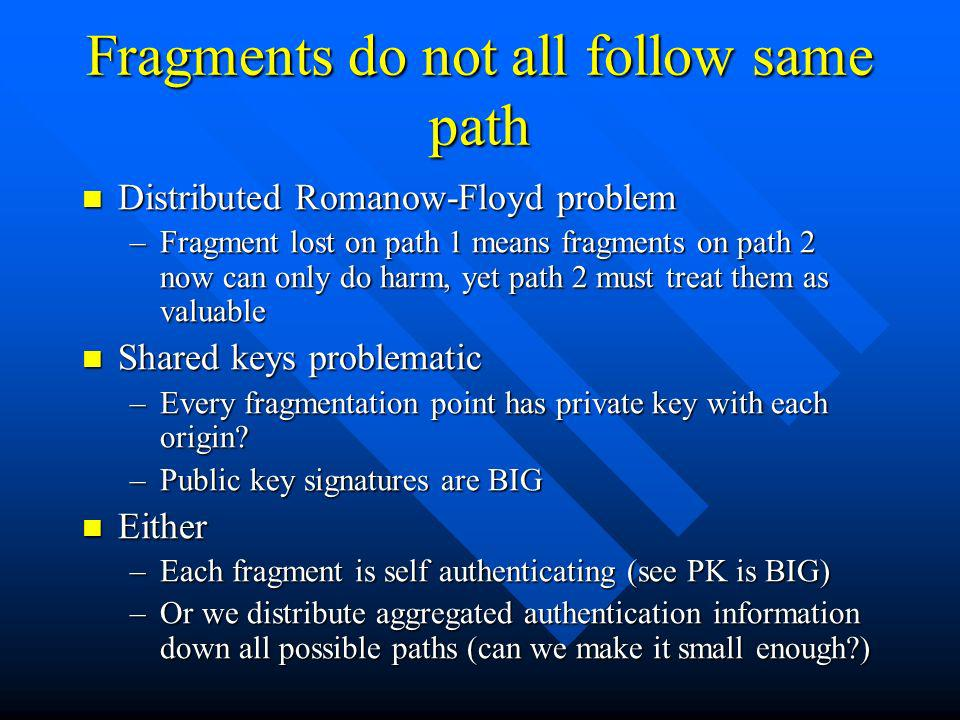 Fragments do not all follow same path Distributed Romanow-Floyd problem Distributed Romanow-Floyd problem –Fragment lost on path 1 means fragments on path 2 now can only do harm, yet path 2 must treat them as valuable Shared keys problematic Shared keys problematic –Every fragmentation point has private key with each origin.