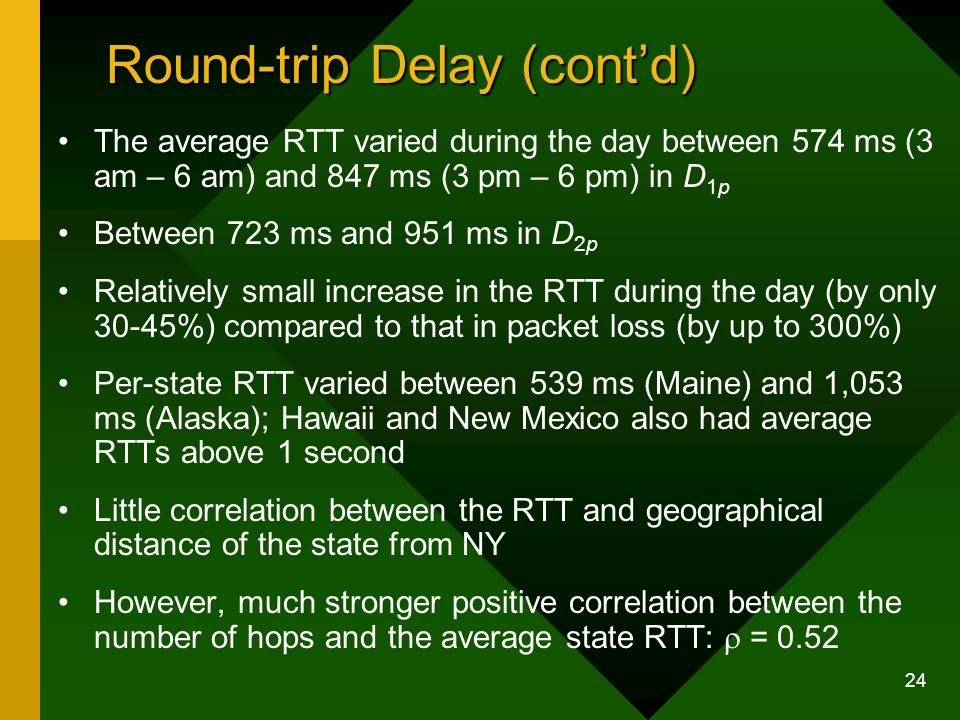 24 Round-trip Delay (contd) The average RTT varied during the day between 574 ms (3 am – 6 am) and 847 ms (3 pm – 6 pm) in D 1p Between 723 ms and 951 ms in D 2p Relatively small increase in the RTT during the day (by only 30-45%) compared to that in packet loss (by up to 300%) Per-state RTT varied between 539 ms (Maine) and 1,053 ms (Alaska); Hawaii and New Mexico also had average RTTs above 1 second Little correlation between the RTT and geographical distance of the state from NY However, much stronger positive correlation between the number of hops and the average state RTT: = 0.52