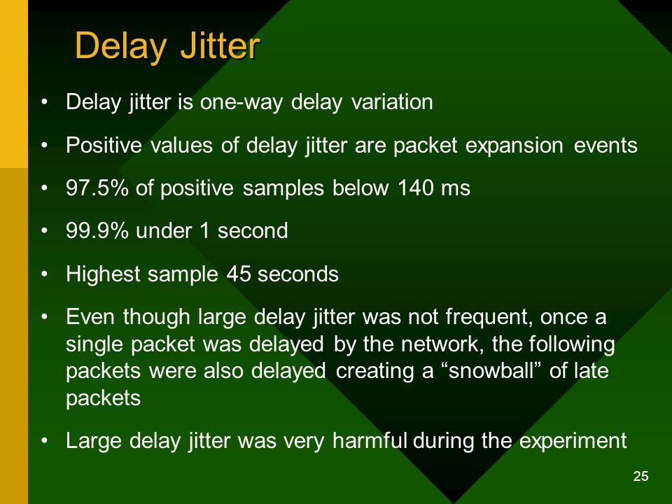 25 Delay Jitter Delay jitter is one-way delay variation Positive values of delay jitter are packet expansion events 97.5% of positive samples below 140 ms 99.9% under 1 second Highest sample 45 seconds Even though large delay jitter was not frequent, once a single packet was delayed by the network, the following packets were also delayed creating a snowball of late packets Large delay jitter was very harmful during the experiment
