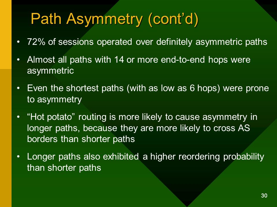 30 Path Asymmetry (contd) 72% of sessions operated over definitely asymmetric paths Almost all paths with 14 or more end-to-end hops were asymmetric Even the shortest paths (with as low as 6 hops) were prone to asymmetry Hot potato routing is more likely to cause asymmetry in longer paths, because they are more likely to cross AS borders than shorter paths Longer paths also exhibited a higher reordering probability than shorter paths