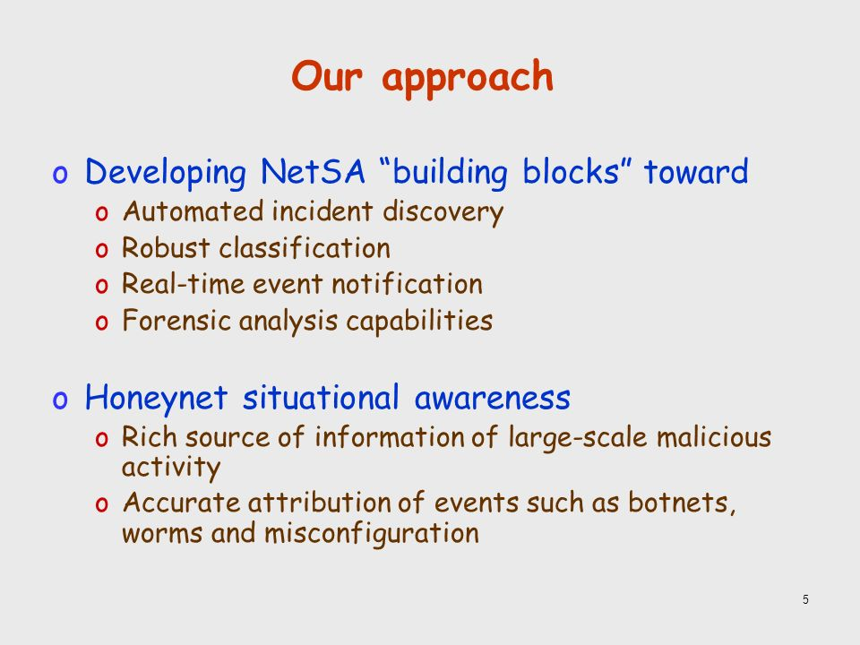 5 Our approach oDeveloping NetSA building blocks toward oAutomated incident discovery oRobust classification oReal-time event notification oForensic analysis capabilities oHoneynet situational awareness oRich source of information of large-scale malicious activity oAccurate attribution of events such as botnets, worms and misconfiguration