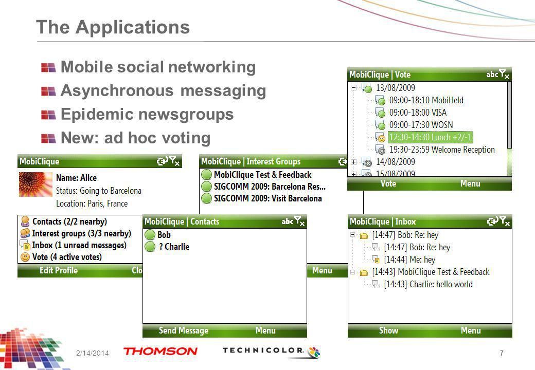 The Applications Mobile social networking Asynchronous messaging Epidemic newsgroups New: ad hoc voting 7 2/14/2014