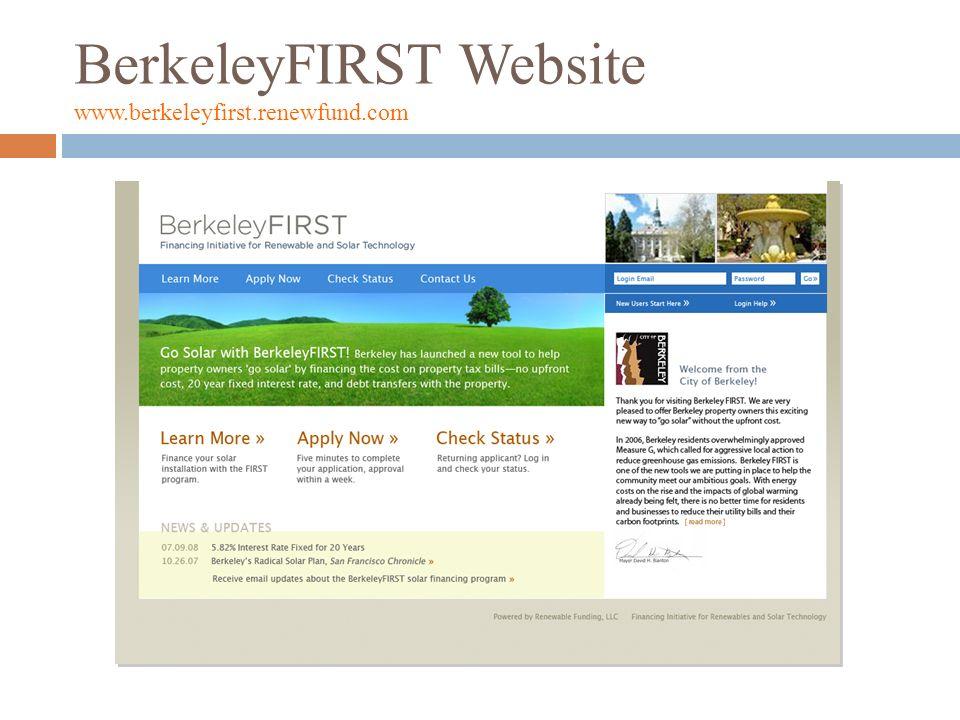 BerkeleyFIRST Website www.berkeleyfirst.renewfund.com