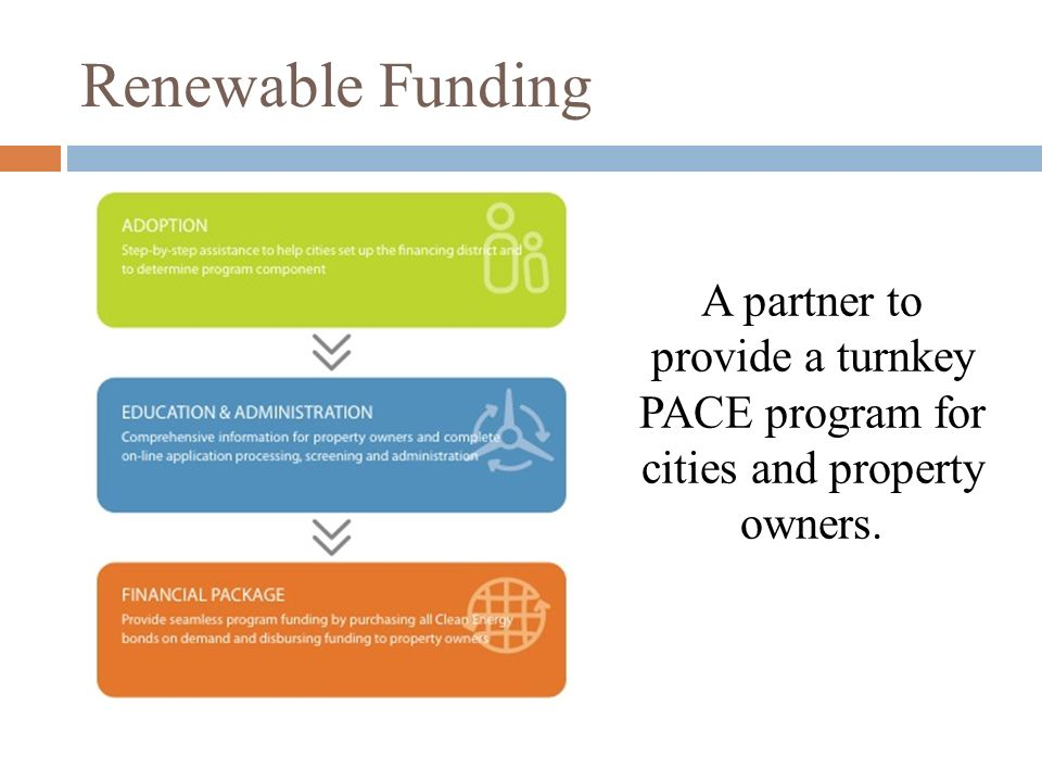Renewable Funding A partner to provide a turnkey PACE program for cities and property owners.