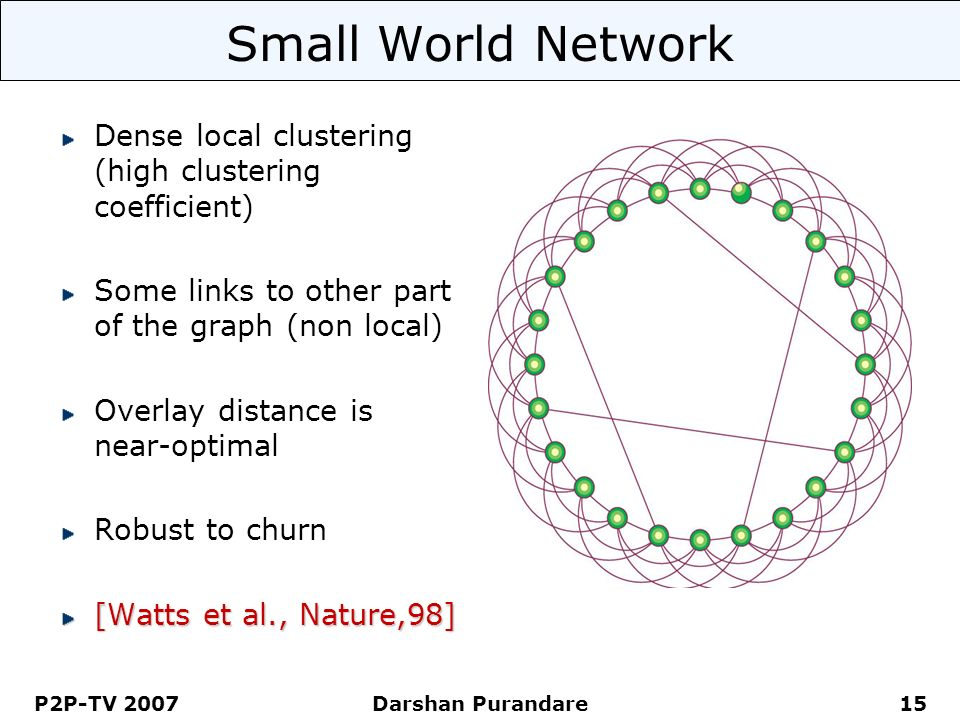 P2P-TV 2007 Darshan Purandare 15 Small World Network Dense local clustering (high clustering coefficient) Some links to other part of the graph (non l