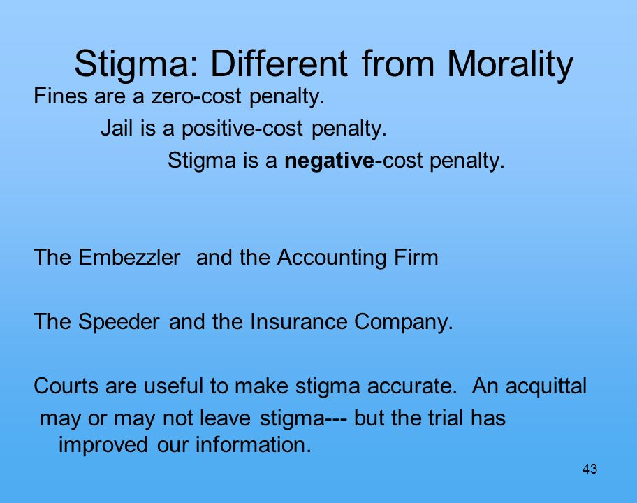 43 Stigma: Different from Morality Fines are a zero-cost penalty.
