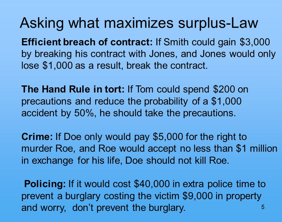 5 Asking what maximizes surplus-Law Efficient breach of contract: If Smith could gain $3,000 by breaking his contract with Jones, and Jones would only lose $1,000 as a result, break the contract.