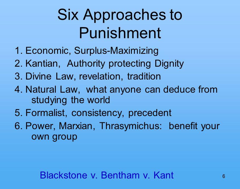 6 Six Approaches to Punishment 1. Economic, Surplus-Maximizing 2.