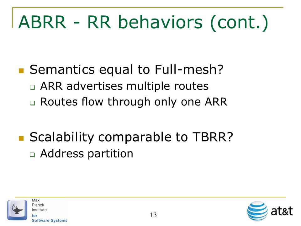 ABRR - RR behaviors (cont.) Semantics equal to Full-mesh.