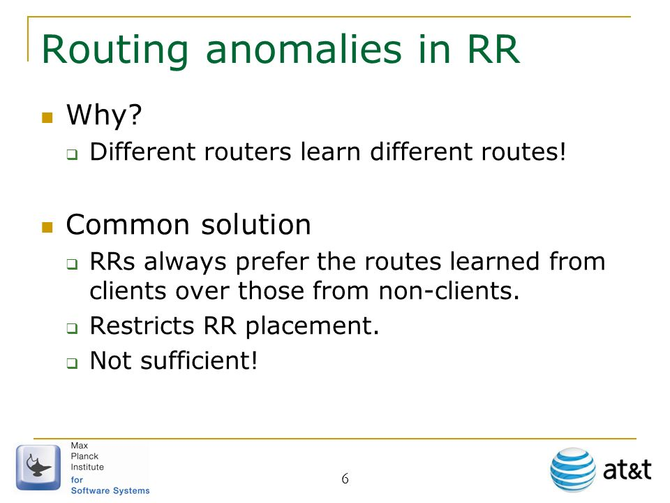 6 Routing anomalies in RR Why. Different routers learn different routes.