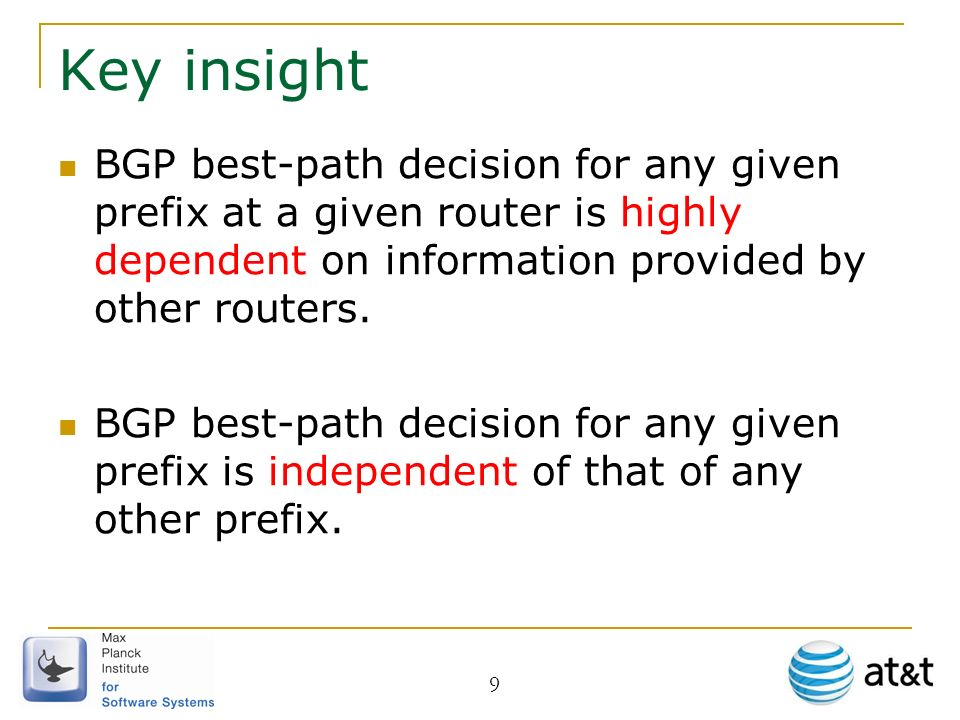 Key insight BGP best-path decision for any given prefix at a given router is highly dependent on information provided by other routers.