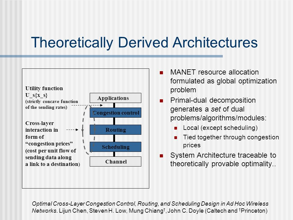 Theoretically Derived Architectures MANET resource allocation formulated as global optimization problem Primal-dual decomposition generates a set of dual problems/algorithms/modules: Local (except scheduling) Tied together through congestion prices System Architecture traceable to theoretically provable optimality..