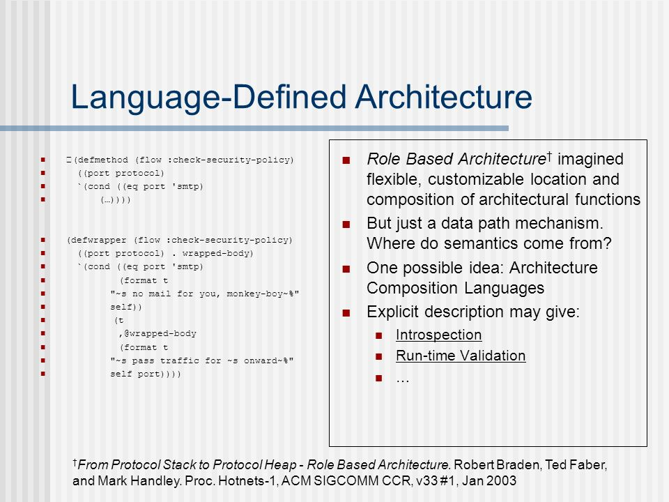 Language-Defined Architecture Role Based Architecture imagined flexible, customizable location and composition of architectural functions But just a data path mechanism.
